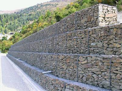 for mass gravity retaining walls along water courses where flexibility